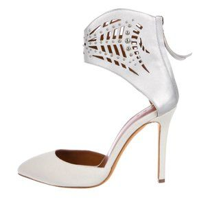 IRO Sheath Suede Ivory & Silver Pointed-Toe Pumps